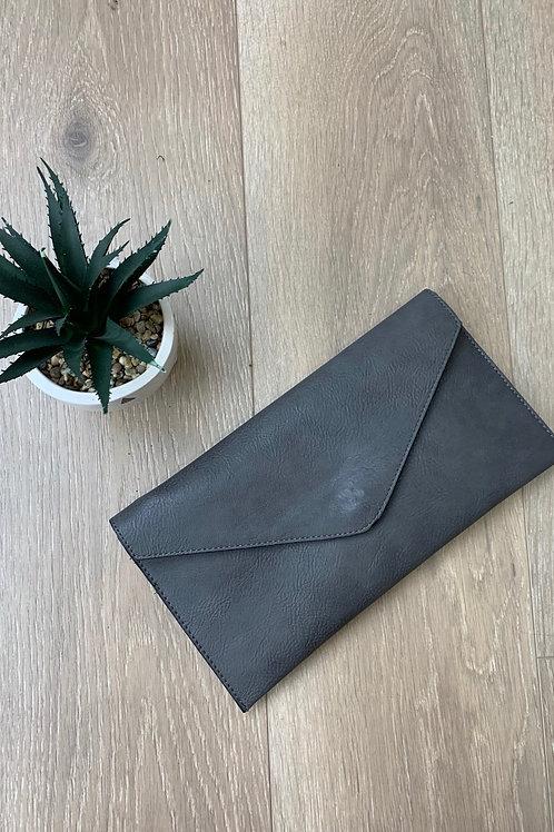 Charcoal Envelope Clutch Bag