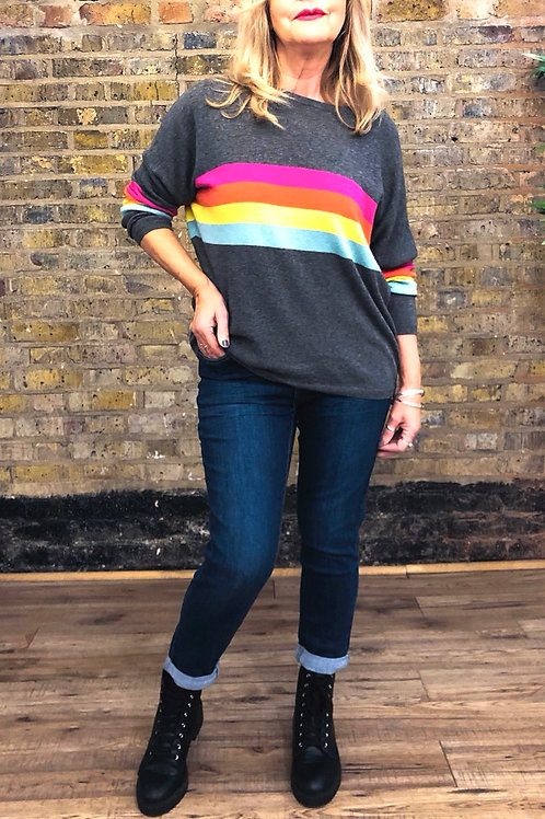 Lightweight Rainbow Stripe Jumper