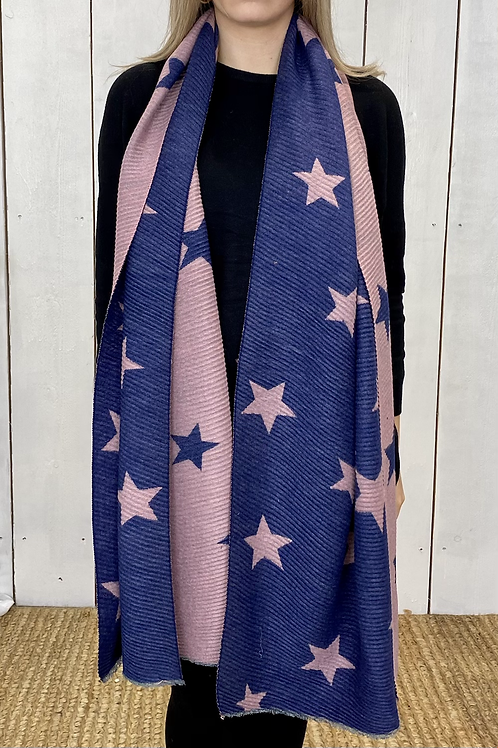 Blue/ Pink Soft Ribbed Star Scarf