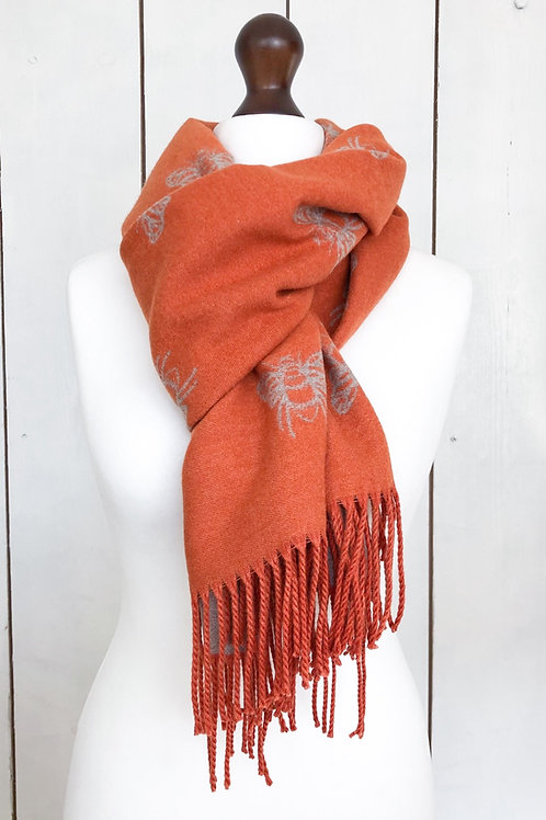 Orange/Taupe Reversible Cashmere Mix Bee Scarf