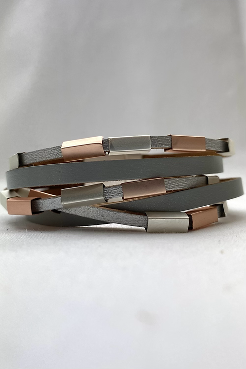 Rose Gold/ Silver Metal Bar Layer Bracelet
