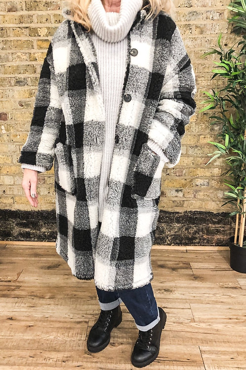 Black and White Check Teddy Coat