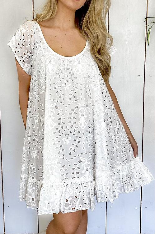 White Broderie Frill Trim Smock Dress