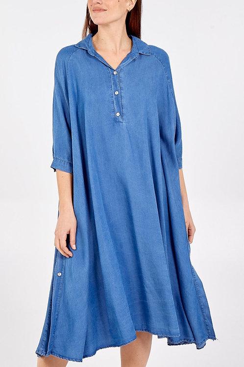 Button Up Side Denim Dress