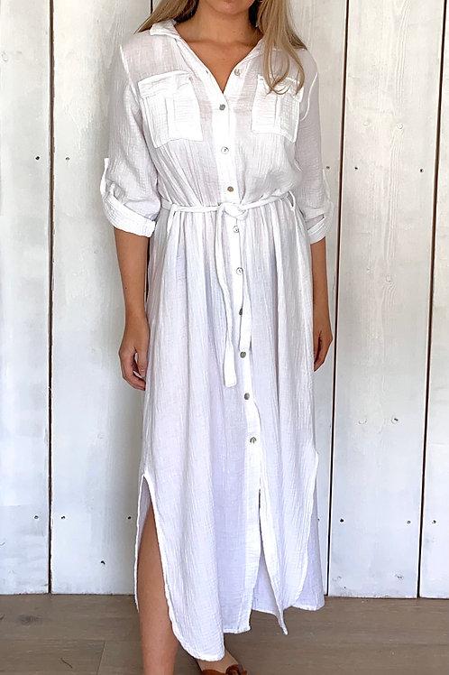 Muslin Belted Shirt Dress