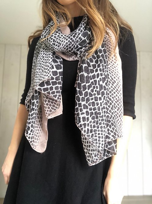 Pink and Black Animal Print Scarf