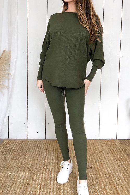 Ribbed Batwing Top and Legging Loungewear