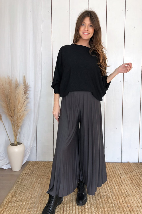 Pleated Culottes With Elasticated Waist