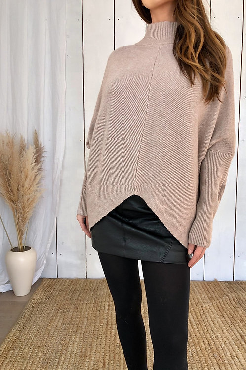 Beige Ribbed Jumper With High Neck