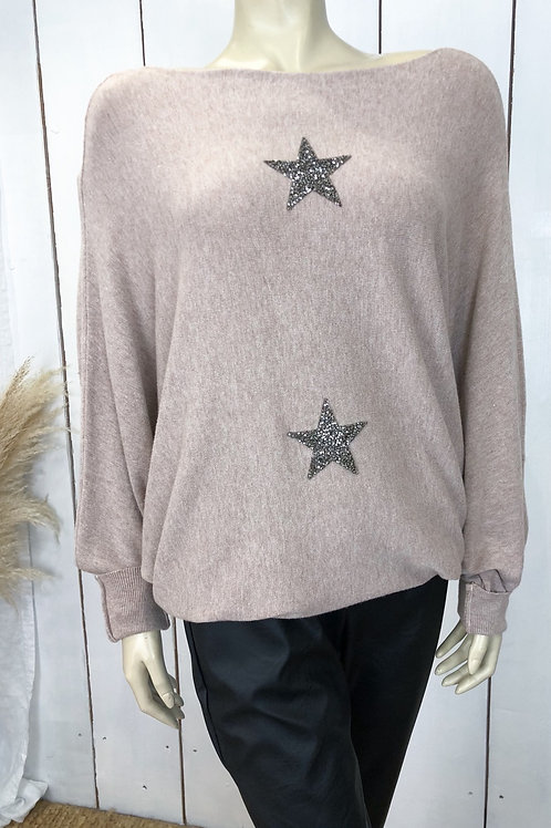 Soft Knit Batwing Jumper With Star Embellishment