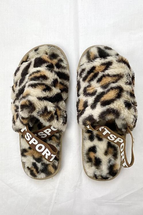 Beige Leopard Sport Open Toe Slipper