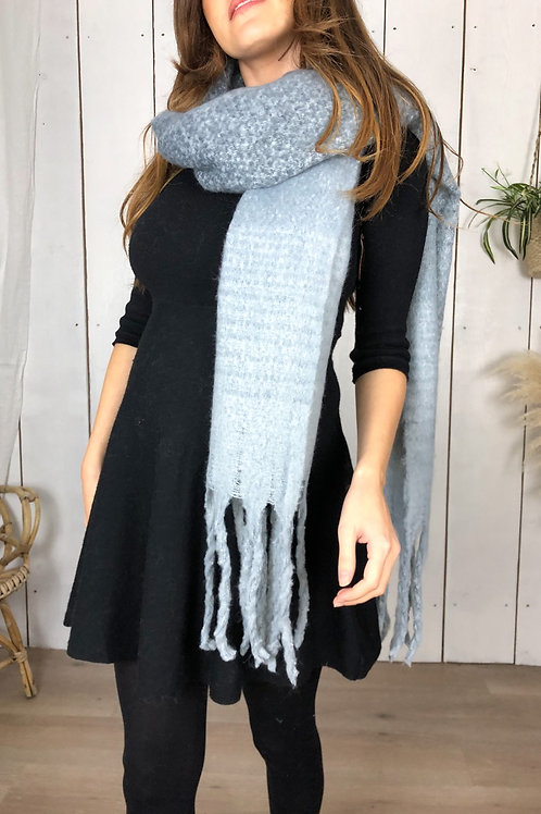 Chunky Grey Scarf With Tassels