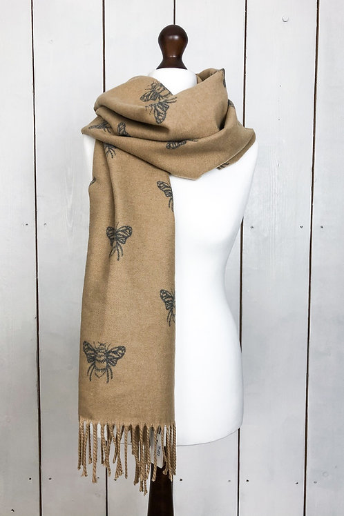 Beige/Grey Reversible Cashmere Mix Bee Scarf
