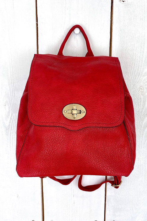 Red Oval Brass Clasp Rucksack