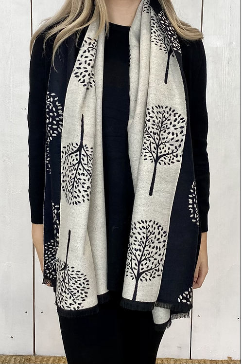 Black/ Beige Soft Tree Scarf