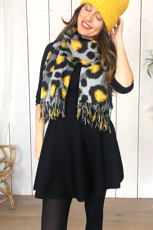 Grey & Yellow Mix Leopard Scarf With Tassels