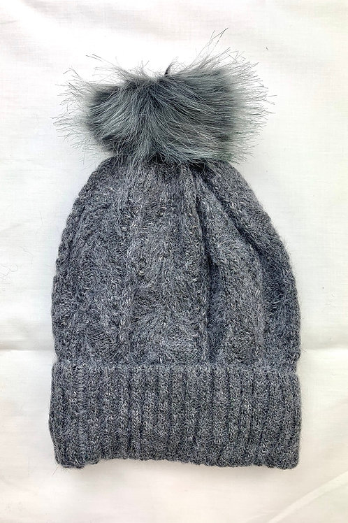 Grey Fluffy Knitted Bobble Hat