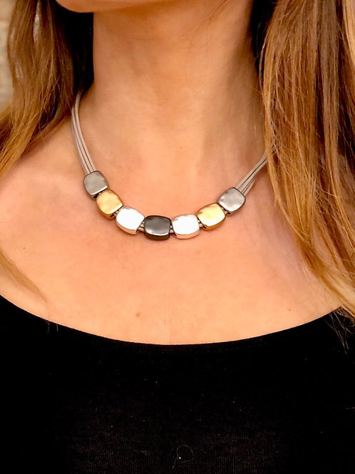 Multi row leather necklace with metal beads