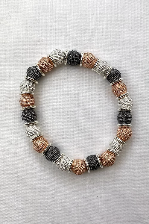 Silver/ Rose Gold/ Charcoal Bead Bracelet