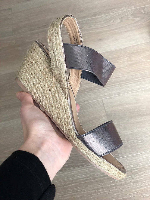 Pewter Double Elastic Strap Espadrille Wedges