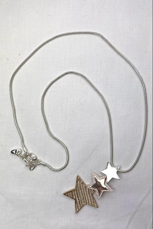 Textured 3 Star Necklace