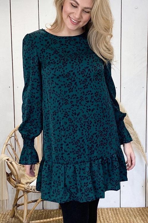Deep Green Petal Pattern Dress
