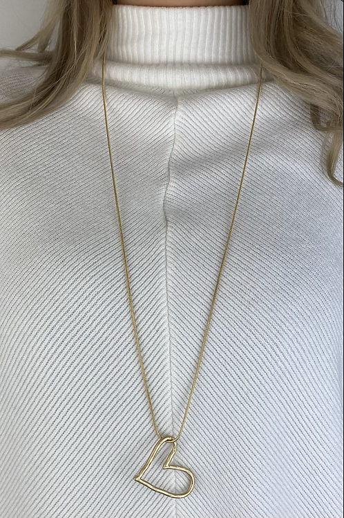 Gold Abstract Heart Necklace