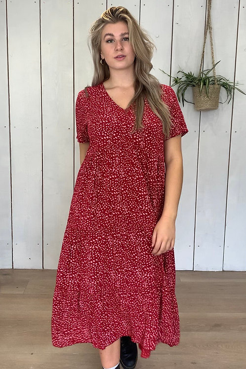Short Sleeve Dalmatian Print Smock Dress