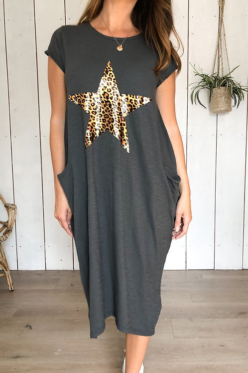 Leopard Star Cotton Dress With Pockets