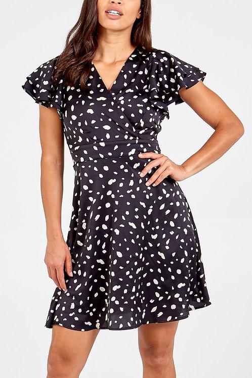 Black Dalmatian Wrap Dress
