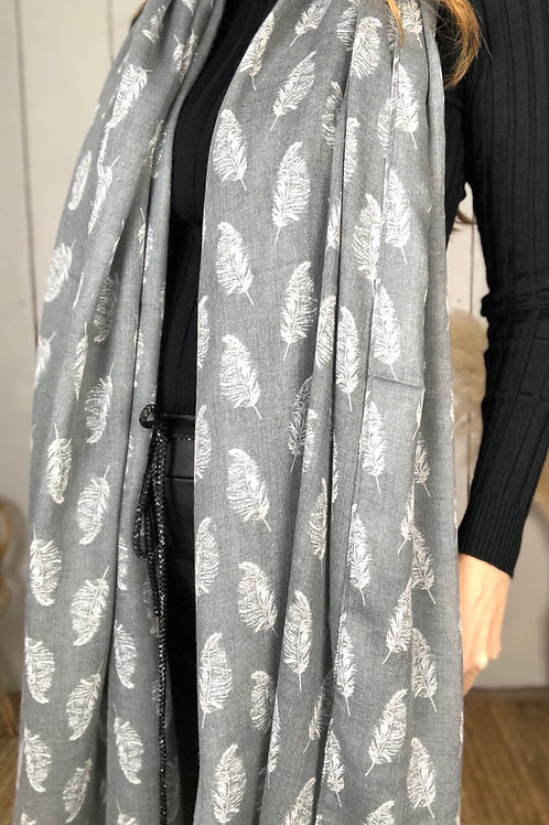Grey Feather Print  Lightweight Scarf