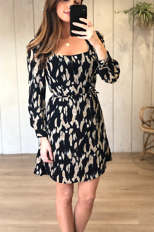 Square Neck Black and Beige Lined Dress