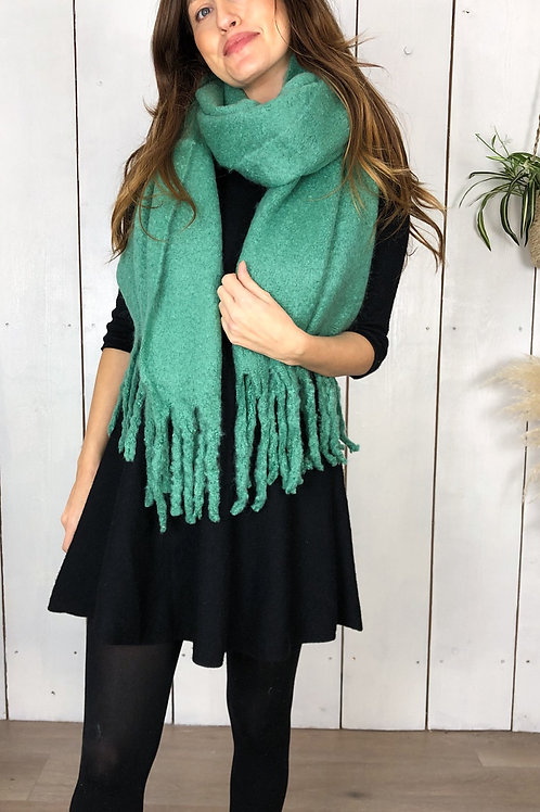 Chunky Plan Green Scarf With Tassels