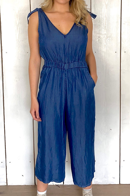 Denim Tie Up Jumpsuit