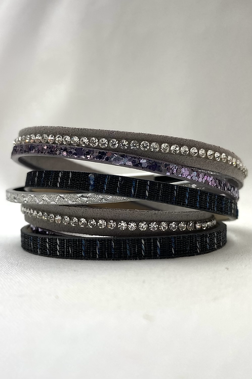 Black/ Purple Texture Layer Bracelet