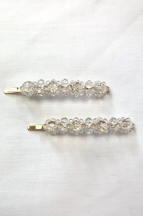 Paired White Diamond Clips