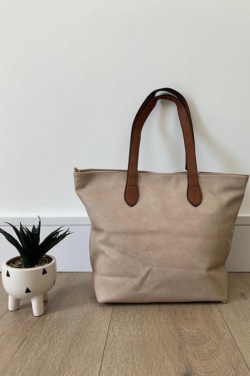 Beige Tan Strap Handbag