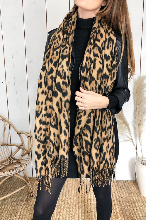 Supersoft Tan Leopard Print Scarf