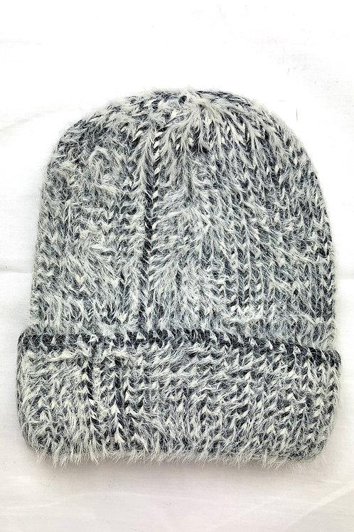 Grey & White Fluffy Knitted Beanie Hat