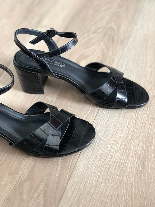 Black Patent Croc Short Heels