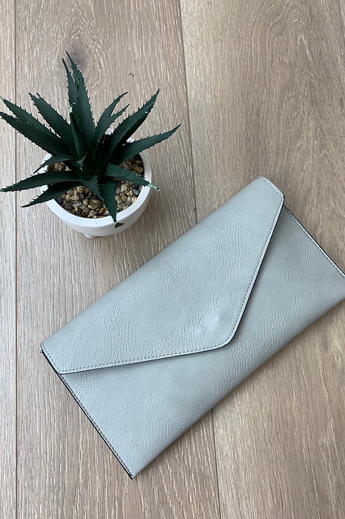 Light Grey Envelope Clutch Bag