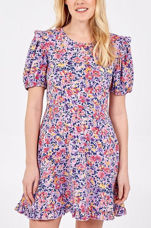 Lilac Frill Detail Floral Mini Dress