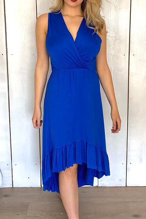 Sleeveless Wrap Front High Low Jersey Dress