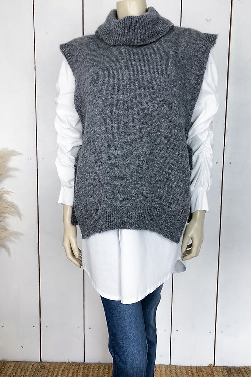 Roll Neck Sleeveless Jumper With Tie Sides