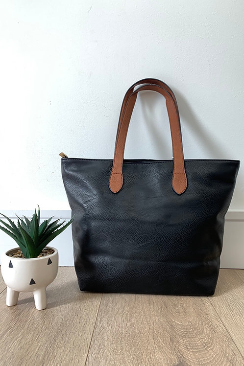 Black Tan Strap Handbag
