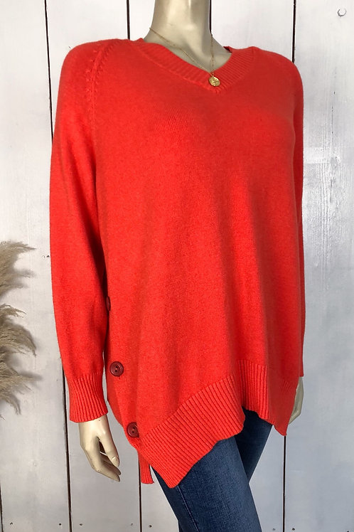V Neck Jumper With Side Button Detail