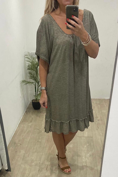 Oversize T-Shirt Dress With Frill Hem