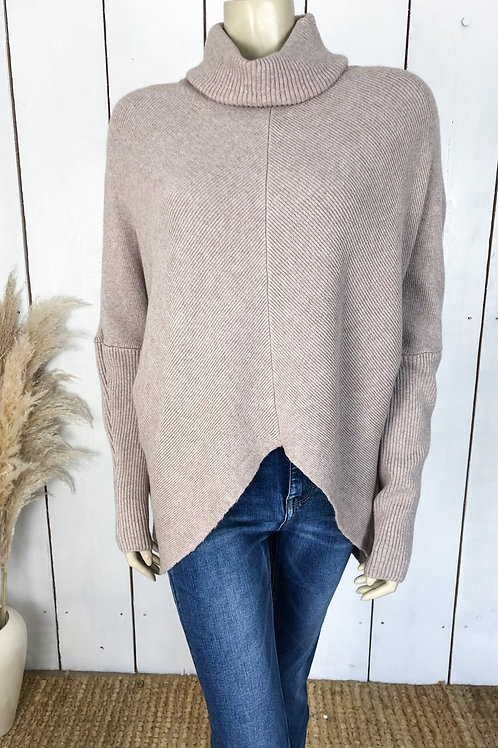 Chunky Knit Roll Neck V Front Jumper