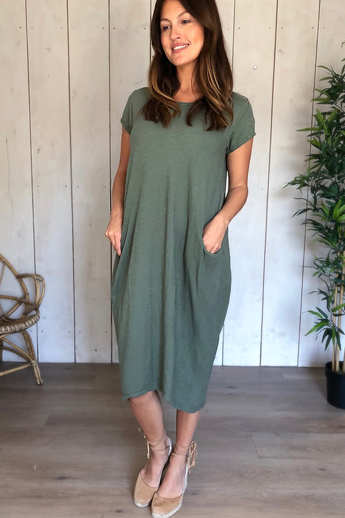 Basic Cotton Dress With Pockets in Khaki