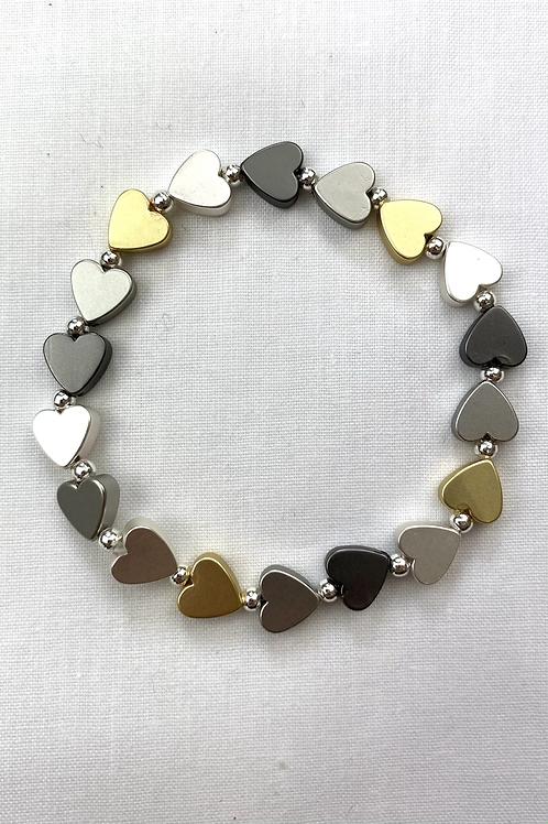 3 Colour Heart Bracelet